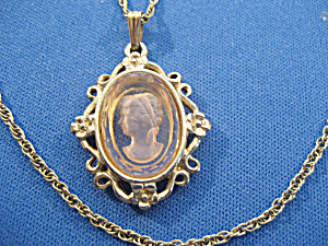 Pink Glass Cameo Necklace (Image1)