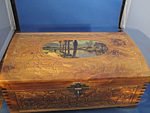 Vintage Carved Box With Scene (Image1)
