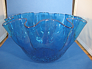 Large Blue Crackle Glass Bowl (Image1)