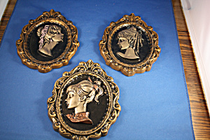 Three Chalware Girl Potrait Plaques