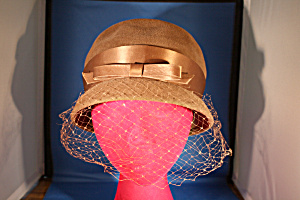 Brown Felt Netted Hat