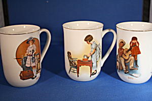 Three Norman Rockwell Cups