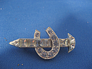 Rhinestone Horse Shoe and Stake Brooch (Image1)
