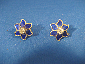 Blue Enamel Flower Earrings (Image1)