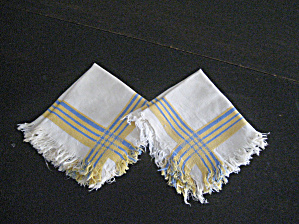 Two Blue And Yellow Linen Napkins
