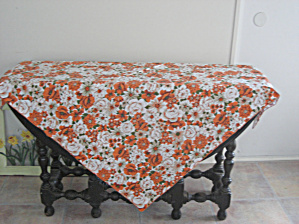 Orange Flowered Table Cloth