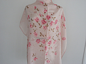 Pink Flowered Silk Scarf (Image1)