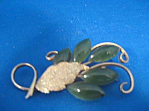Gold And Jade Leaf Brooch