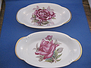 Two Hand Painted Rose Relish Dishes