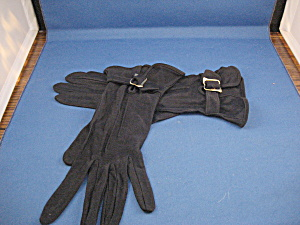 Blue Rayon Buckled Gloves (Image1)