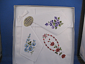 Three Embroidered Handkerchiefs