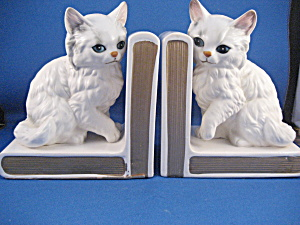 Lefton White Cat Book Ends