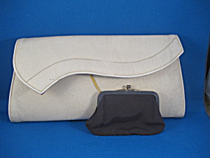 Cream Leather Clutch Purse (Image1)
