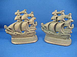 Cast Iron Ship Book Ends