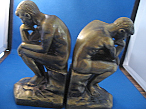 The Thinker Brass Bookends