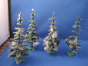 Four Old Christmas Village Trees (Image1)