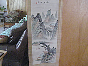 Large Vintge Handpainted  Scroll Painting (Image1)