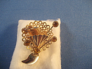 Goldtone Brooch With Topaz Stones