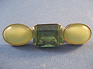 Green Rhinestone Bar Brooch (Image1)