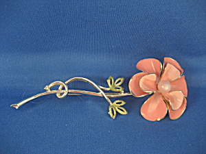 Large Tin Painted Flower Brooch (Image1)