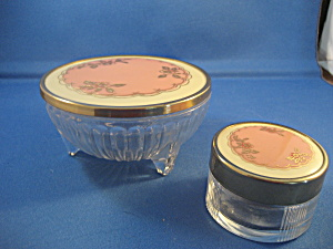 Footed Powder Jar And Matching Vanity Jar