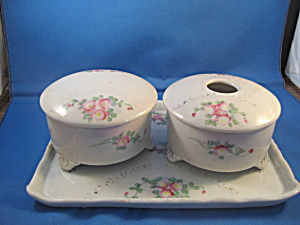 Nippon Ceramic Powder Jar and Hair Reciver with Tray (Image1)