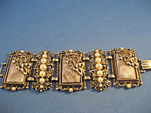 Large Antique Silver and Faux Pearl Bracelet (Image1)