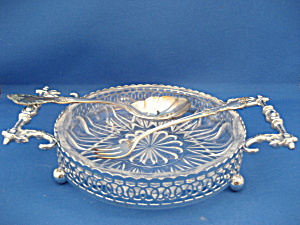 Glass and Silver Dish with Fork and Spoon (Image1)