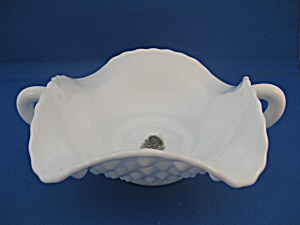 Milk Glass Hob Nail Fenton Two Handle Dish (Image1)
