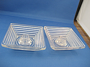 Art Deco Square Glass Candleholders (Image1)