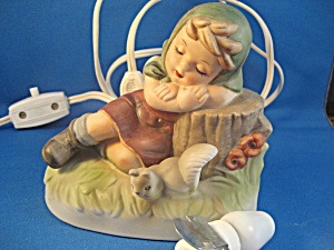 Hummel Like Little Girl Lamp