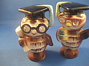 Lefton 1956 Gratduate Owl Salt And Pepper Shakers