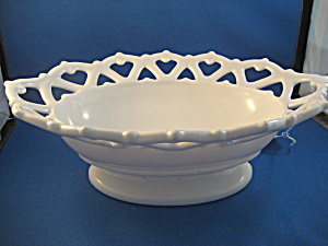 Oval Milkglass Lace Serving Bowl