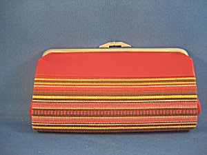 Red Leather and Woven Coin Purse (Image1)