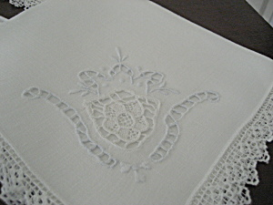 Four Lace Edged Linen Napkins