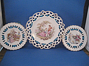 Three Lace Plates With Edwardian Couples