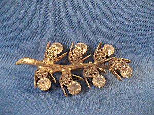 Flower and Leaf Rhinestone Brooch (Image1)