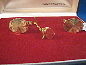 Prestige Gold Plated Cuff Links And Tie Tack