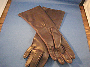 Long Brown Leather Gloves (Image1)