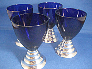Colbalt Blue Liquor Glasses with Silver Stems (Image1)
