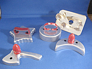 Group Of Five Aluminum Cookie Cuttters
