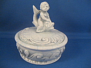 Boy And Fish Ceramic Powder Jar