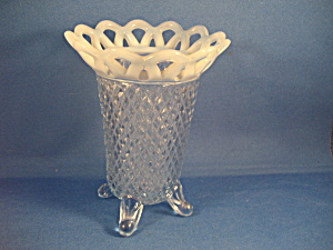 Imperial Glasss 4 Toed Lace Edge Vase