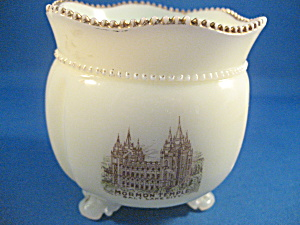 Mormon Temple Vaseline Glass Sugar Bowl (Image1)