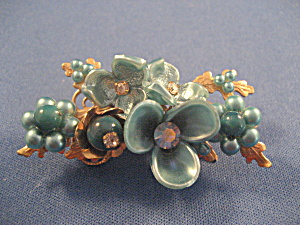 Blue Flower and Rhinestone Pendant (Image1)