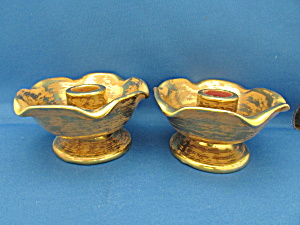 Stangl 22 Kt Gold Candle Holders