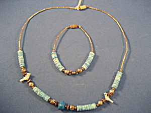Liquid Silver Turquoise Coral Necklace and Bracelet (Image1)