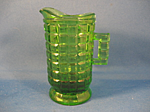 Child's Glass Green Pitcher