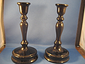 Black Glass Candleholders