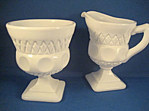 Milk Glass Westmoreland Sugar and Creamer (Image1)